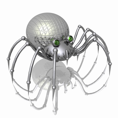 araneae: Robot-spider. 3D Illustration - metallic spider with green eyes. Futuristic insect on the mirror surface.