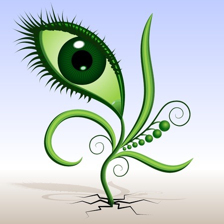 mimicry: Plant-eye illustration of green plants sprouted. Abstraction - a flower in the shape of the eye with leaves and tendrils. The grotesque mimicry.