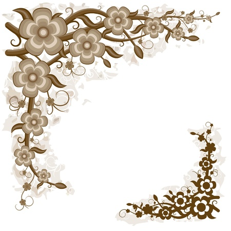 Floral background. Floral composition of the branches, flowers, leaves and tendrils illustration - floral design.