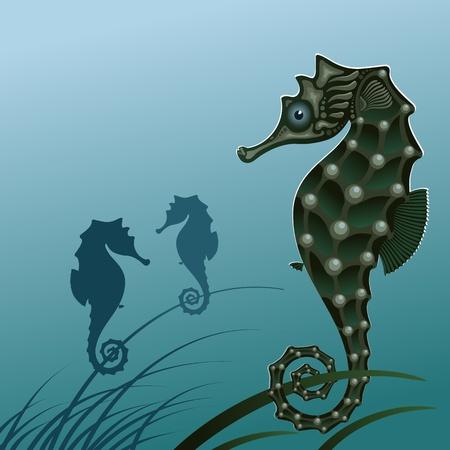seahorse: Fish sea horse. Stylized seahorse on the algae illustration. A silhouette of a sea horse.