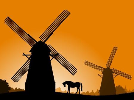 Wiatraki o zachodzie słońca. Wiatraki sylwetka i koń o zachodzie słońca. Vector ilustracji - wieś.