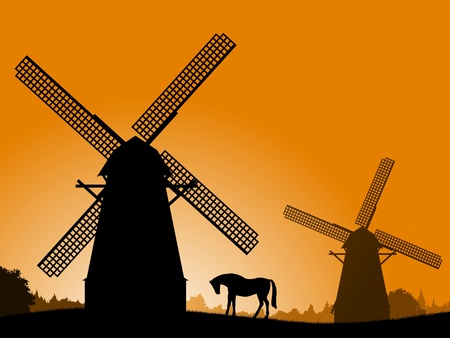 moinhos de vento: Windmills at Sunset. Silhouette windmills and horse at sunset. Vector illustration - the countryside.   Ilustração