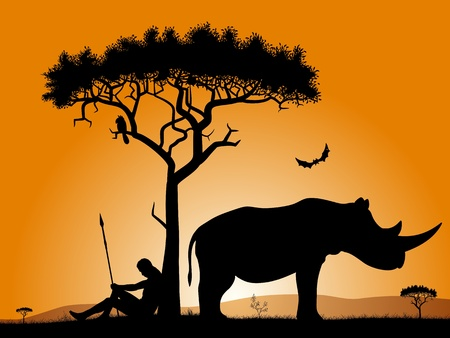 Dawn in Africa. Savannah in the morning. Silhouettes of a hunter, trees, and rhinoceros.