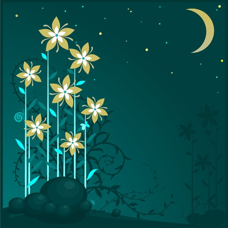 Floral background. The silhouettes of flowers in the moonlight. Vector illustration of yellow flowers.   Ilustração