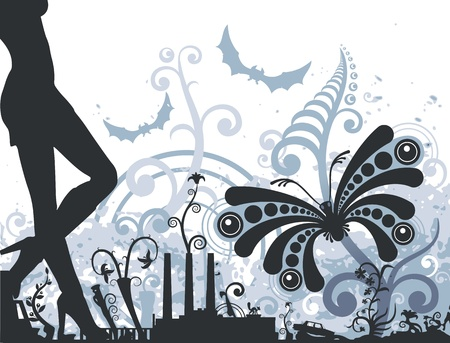 Night butterfly. Urban floral design. Beautiful chaos. Conglomerate of leaves, flowers, stems, tendrils, houses, women and debris.   Vector