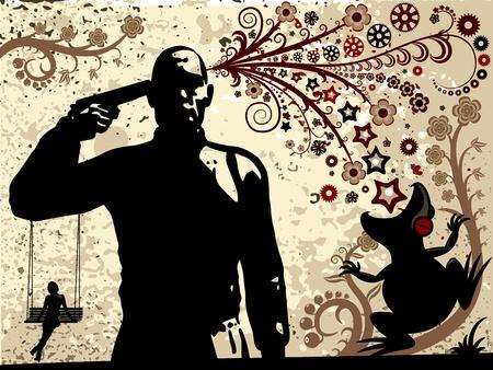 leven en dood: Bloemen achtergrond. De allegorie van de liefde, leven, dood en reïncarnatie. Decoratieve compositie van silhouetten bloemen, bladeren, stengels, ranken. Een man met een pistool, een vrouw op een schommel. Stock Illustratie