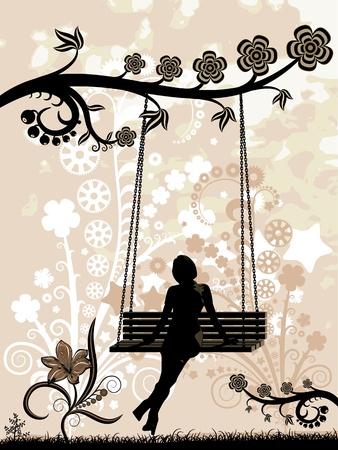 columpios: Mujer en un columpio. Ilustración del vector - silueta de una mujer sentada en un columpio. Siluetas estilizadas de las flores.