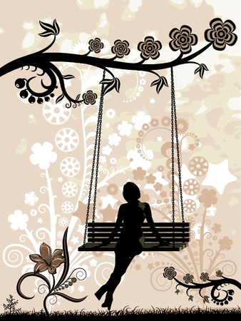 Woman on a swing. Vector illustration - silhouette of a woman sitting on a swing. Stylized silhouettes of flowers.   Vector