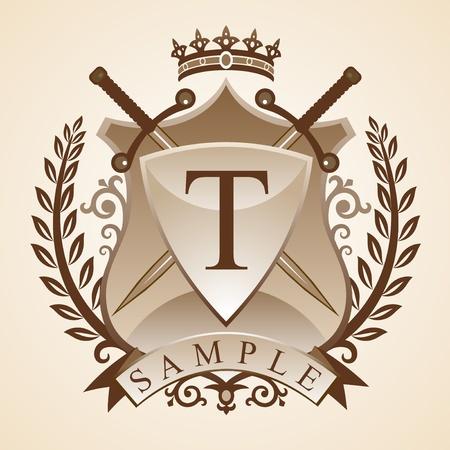 Vintage emblème. illustration - armoiries - un bouclier, épée, couronne, couronne de fleurs. Vecteurs