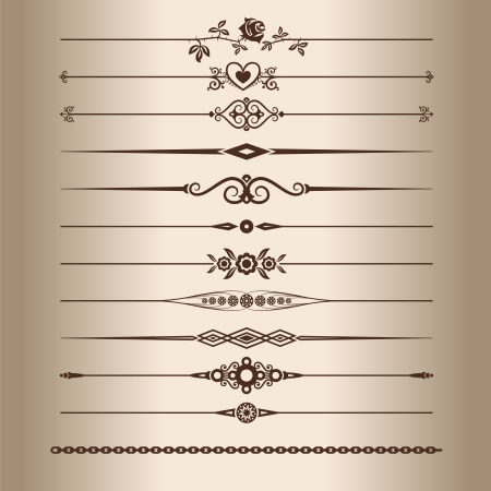 Decorative lines. Elements for a vintage design - decorative line dividers. Vector illustration.