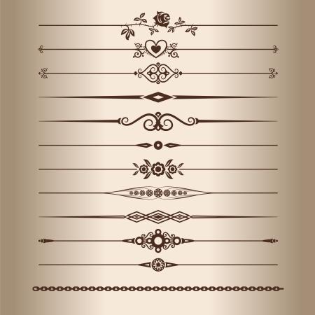 ozdobně: Ozdobné linky. Prvky pro vintage design - ozdobné linky přepážkami. Vektorové ilustrace.