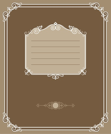 vintage Cover. Page decorated with patterned border. Stylized antique. Vector illustration.