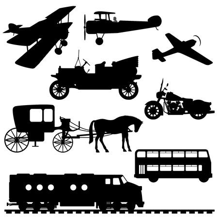 fondo luminoso: Siluetas de los veh�culos. Siluetas de transporte: aviones, coches antiguos, autob�s de dos pisos, motocicleta, carro con un caballo, un tren diesel. Ilustraci�n del vector.