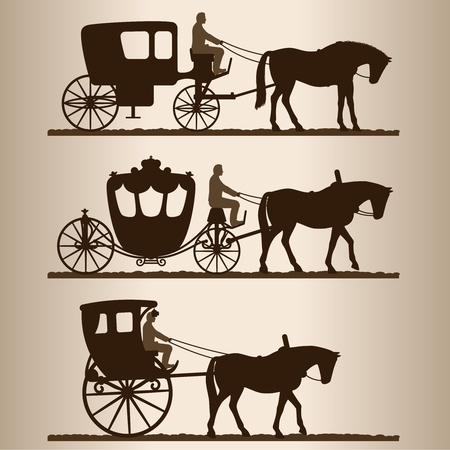horse drawn: Silhouettes of horse-drawn carriages with riders. Two-wheeled and four-wheel carriage.  Illustration.
