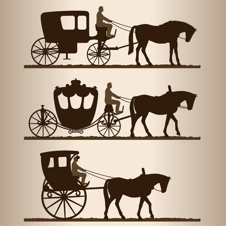 fondo luminoso: Siluetas de carruajes tirados por caballos con los jinetes. De dos ruedas y el carro de cuatro ruedas. Ilustraci�n.