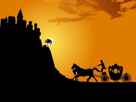 ch�teau m�di�val: Silhouette d'un chariot tir� par des chevaux et un ch�teau m�di�val. Illustration.