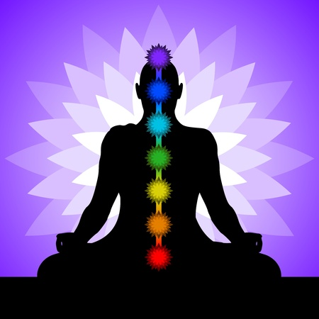 chakras: Yoga con los chakras de colores de una posici�n de loto. Silueta del hombre en posici�n de loto. Ilustraci�n.