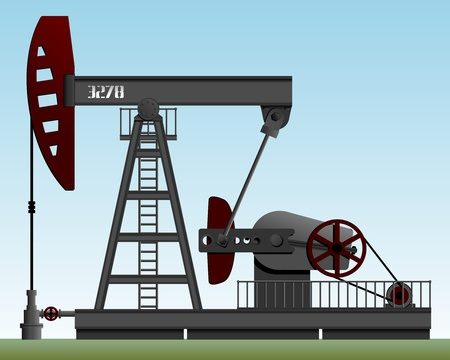 derrick: Oil pump. Pump rocking. Crude oil production. Illustration.    Illustration