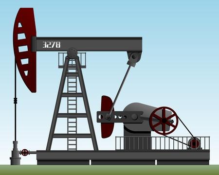 hydrocarbons: Oil pump. Pump rocking. Crude oil production. Illustration.    Illustration