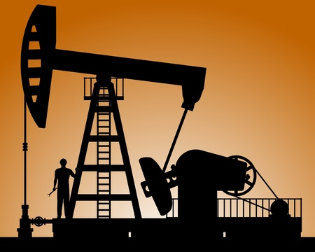 derrick: Silhouette of oil pump. Pump rocking. Crude oil production. Illustration.