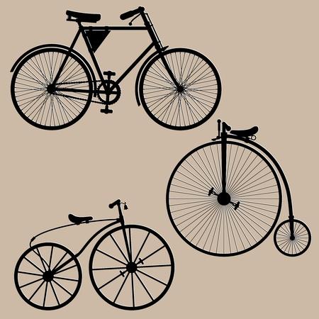 Vintage bicycles. Silhouettes of three vintage bikes illustration.