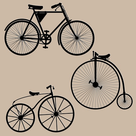 Vintage bicycles. Silhouettes of three vintage bikes illustration.  Vector