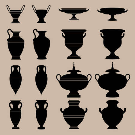 Antique vase  The silhouettes of ancient vessels Stock Vector - 12797968