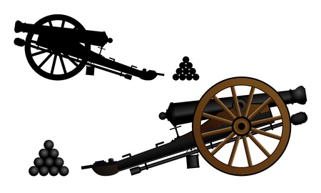 cannonball: Ancient cannon on the gun carriage