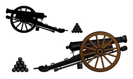 Cañón antiguo en la cureña Ilustración de vector