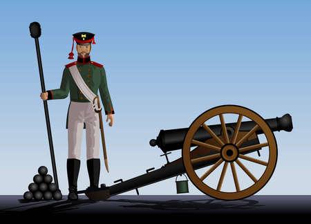 soldier silhouette: Artillery  Artilleryman stands next to the cannon  Ancient guns