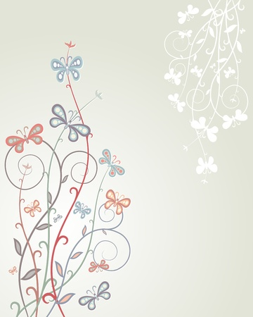 scroll shape: Floral background  Colorful butterflies on plants  Floral design