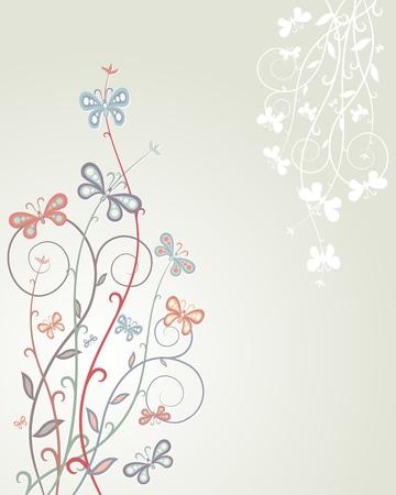 Floral background  Colorful butterflies on plants  Floral design