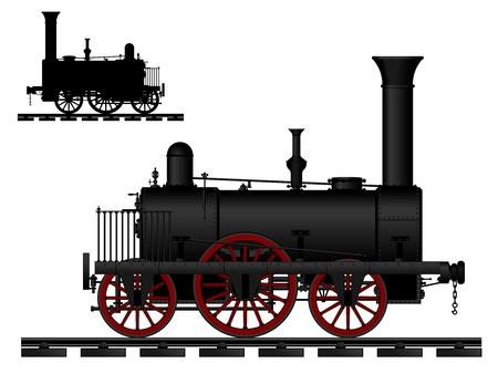 locomotora: De vapor de época antigua locomotora - una imagen en color y una ilustración vectorial silueta de color negro Vectores