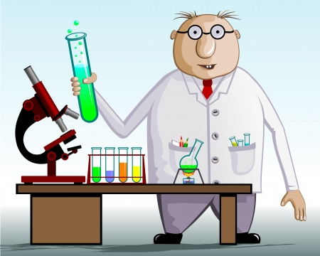 invent: The scientist chemist  On the table test tubes, flask, microscope  Vector illustration