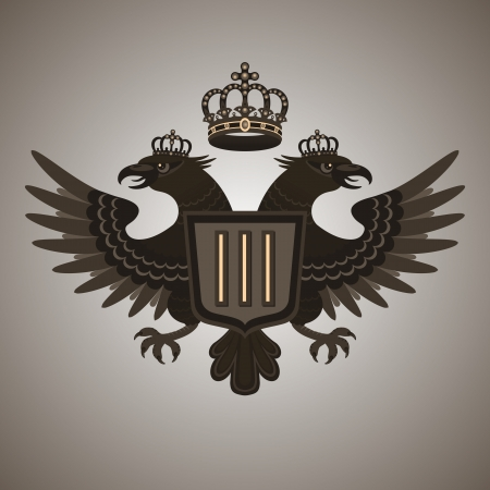 double headed: Double-headed eagle  Vintage coat of arms - two-headed eagle with a crown and shield