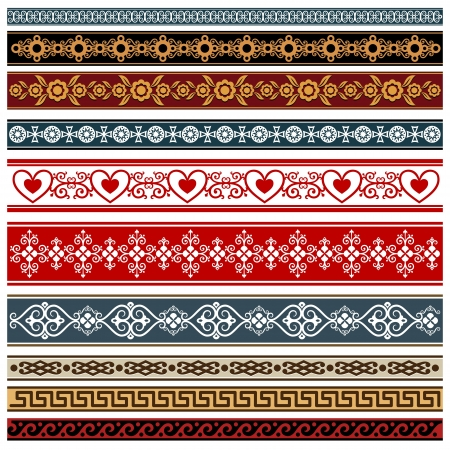Ornaments of various styles  Elements of design - patterned borders    Illustration