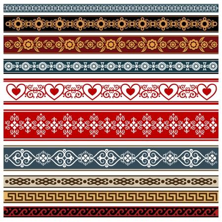 Ornaments of various styles  Elements of design - patterned borders    Ilustração