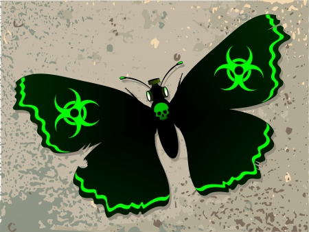 biohazard: Black Butterfly  Dark butterfly on the old wall  Butterfly with a biohazard symbol  Allegory of a bad environment    Illustration