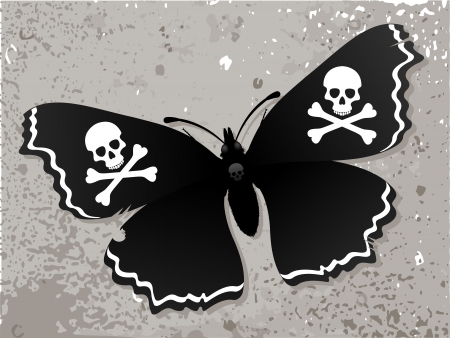 jolly: Black Butterfly  Dark butterfly on the old wall  Butterfly with a pirate symbol  Jolly Roger