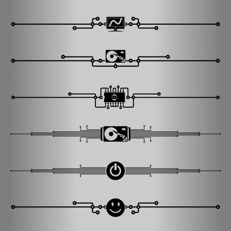 dividing: Decorative lines  Elements for design - decorative line dividers  Computer circuit board  Vector illustration