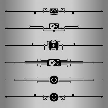 Decorative lines  Elements for design - decorative line dividers  Computer circuit board  Vector illustration