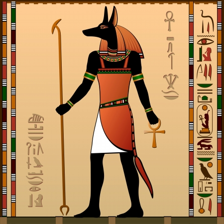 murals: Egypt  Egyptian murals  Anubis - the jackal-headed deity