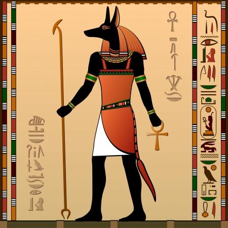 Egypt  Egyptian murals  Anubis - the jackal-headed deity