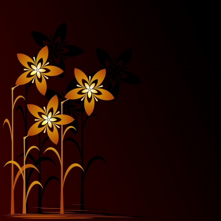 goldish: Floral background  Golden flowers on a black background  Floral design illustration     Illustration