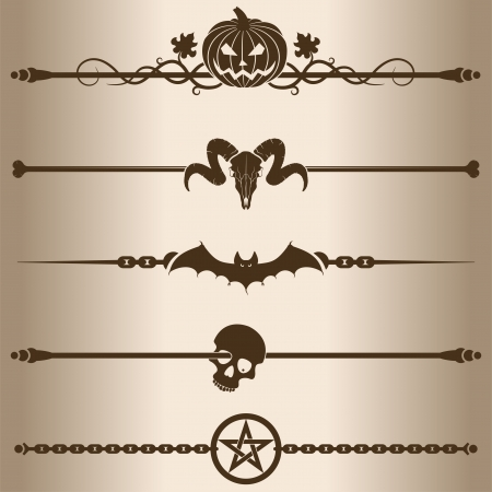 pentagram: Decorative lines  Elements for design - decorative line dividers  Vector illustration