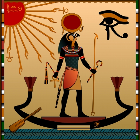 Religion of Ancient Egypt  The gods of ancient Egypt - Aten and Ra  Ra in the solar bark    Stock Vector - 16923088