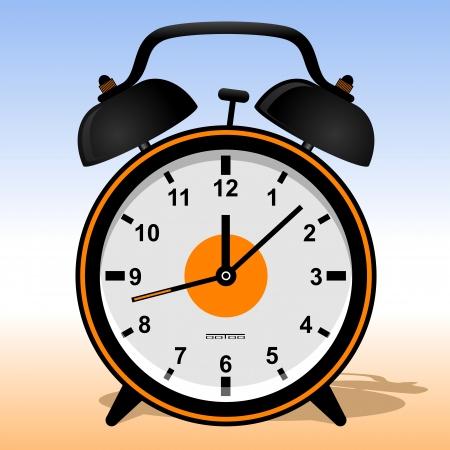 Black alarm clock  Alarm clock in a retro style   illustration