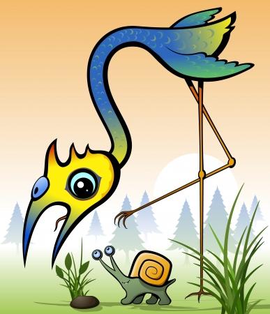 mollusc: Bird  Bird and square snail  Wildlife illustration