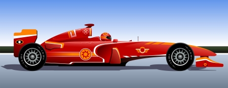 formula car: Racing bolide  The original race car  Red car  Vector illustration