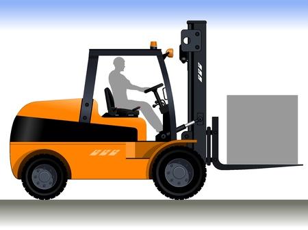 Forklift Driver  Orange forklift  A silhouette of a worker in a forklift